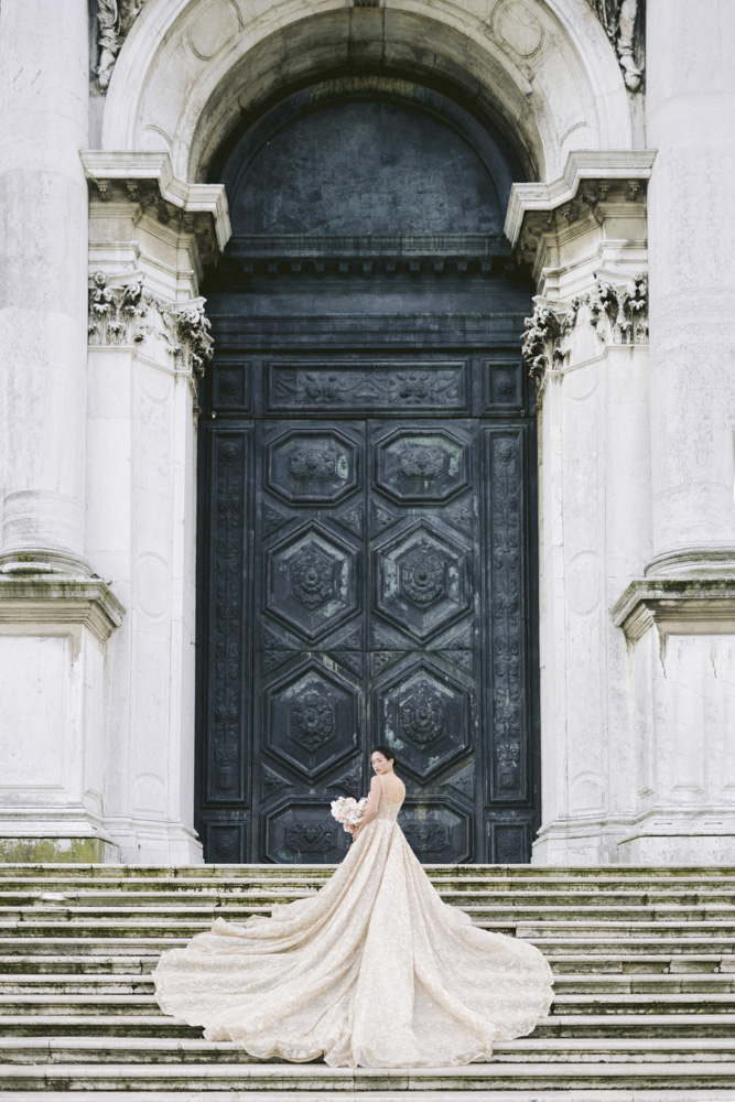 a bride at the basilic di sant maria in venice